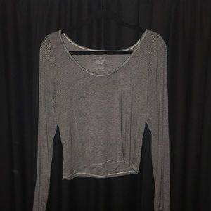 American Eagle Outfitters Tops - Stripe Long Sleeve Crop Top